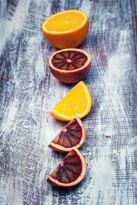 Canvas print Sicilian orange isolated on a wood background