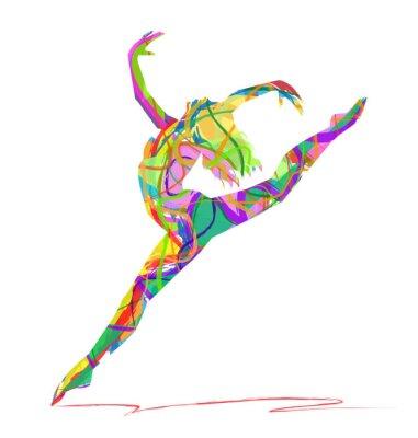 Canvas print silhouette di ballerina composta da colori