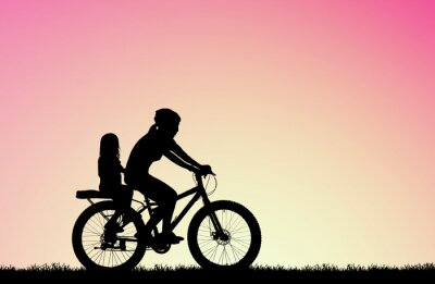 Canvas print silhouette Mother ride a bike with daughter  on blurry sunrise