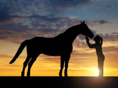 Canvas print Silhouette of a girl giving a kiss horse in sunset