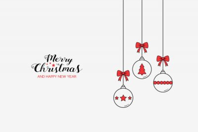 Simple Christmas greeting card with hanging balls and wishes. Xmas decoration. Vector