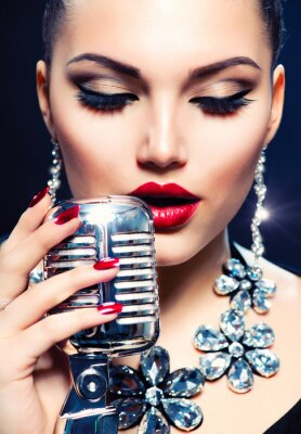 Canvas print Singer Woman with Retro Microphone. Vintage Style