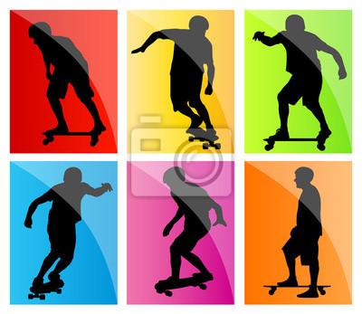 Skateboarder silhouette set vector background