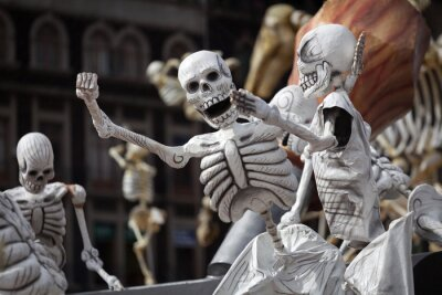 Canvas print Skeletons of Traditional Day of the Dead, Mexico