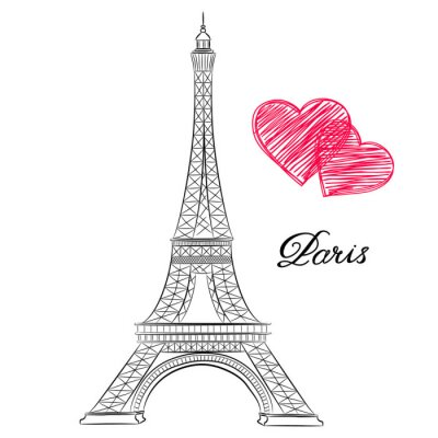 Canvas print sketch of Paris, Eiffel Tower  with hearts. Vector illustration