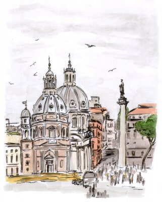 Canvas print Sketch of square in Rome