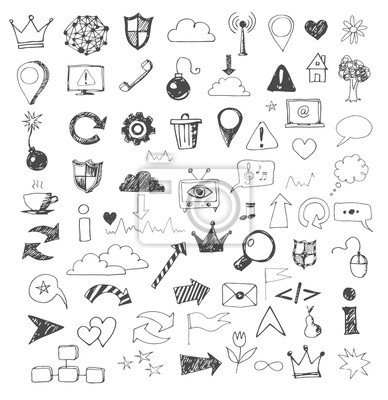 Sketch of web design icons hand drawn with pen