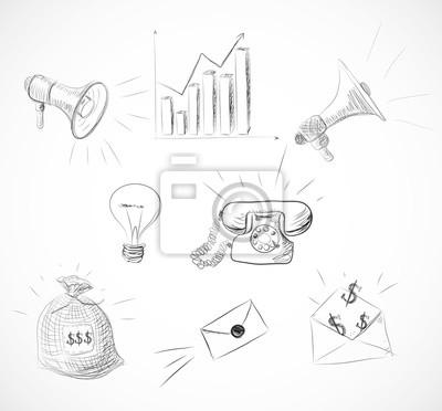 Sketch set of hand-drawn business design elements