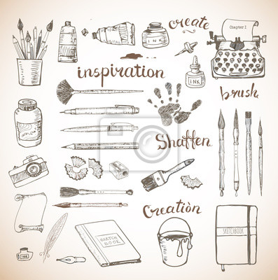 Canvas print Sketches of artist's and writer's tools