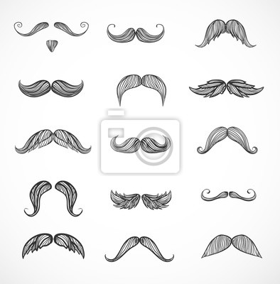 Sketches of moustaches on white