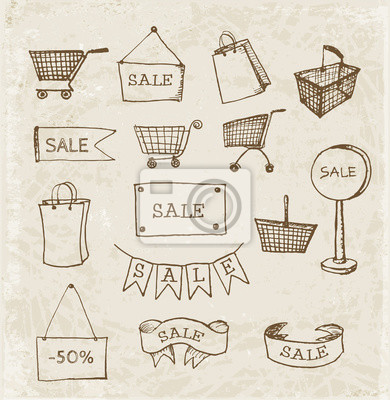 Canvas print Sketches of shopping objects in vintage style