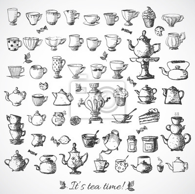Canvas print Sketches of tea objects.