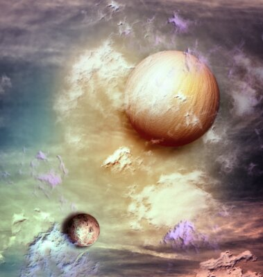 Canvas print Sky with planets