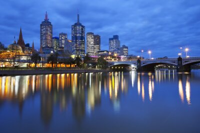 Canvas print Skyline of Melbourne, Australia across the Yarra River at night