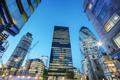 Canvas print Skyscrapers at the City of London at night.