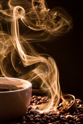 Canvas print Smell of good cofee from a cup