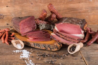Canvas print Smoked meats and sausages