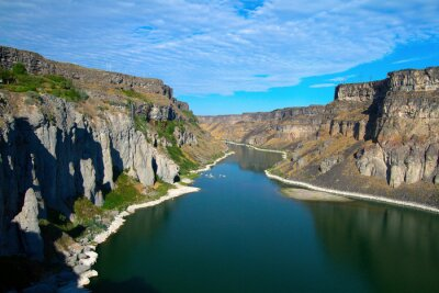 Canvas print Snake River and its canyon as seen from Shoshone Falls near Twin Falls, Idaho