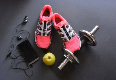 Canvas print sneakers, clothing for fitness