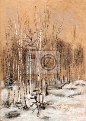 Canvas print Snow wood