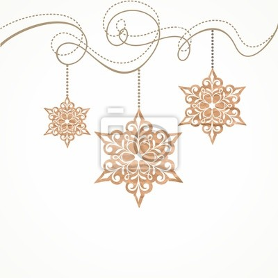 Snowflakes. Christmas card with hanging snowflakes.