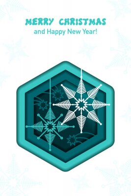 Snowflakes. Paper cut. Christmas and New year greeting card. Vector