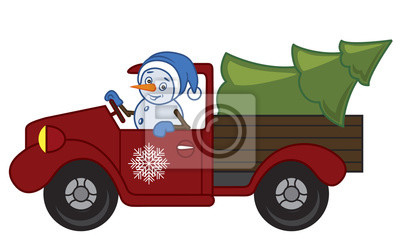 Snowman on a truck with a snowflake on the door carries a tree as a gift