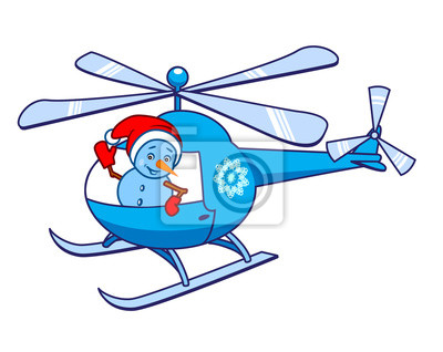 Snowman, waving from the helicopter