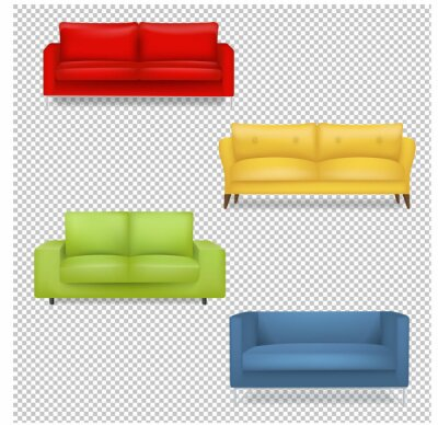 Sofa Big Collection Isolated transparent Background