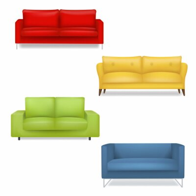 Sofa Big Collection Isolated White Background