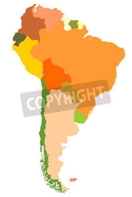 Canvas print South America- detailed map