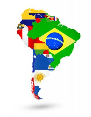 Canvas print South America Map with flags and location on world map