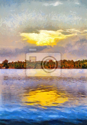 South India backwaters landscape oil painting