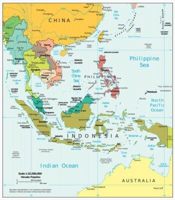 Canvas print Southeast Asia political divisions
