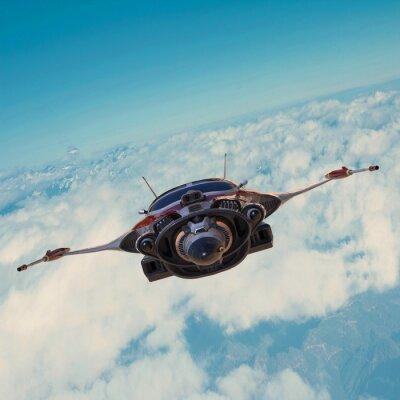 Canvas print spaceship on blue sky