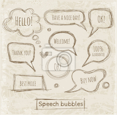 Canvas print Speech and thought bubbles on vintage paper.