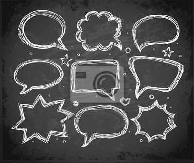 Speech bubbles on blackboard. Vector illustration.