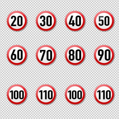 Speed Limit Sign Big Collection isolated Transparent Background