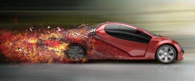 Canvas print speeding car disintegrating