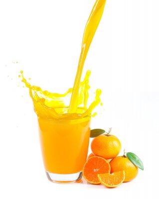 Canvas print splashing orange juice with oranges against white background