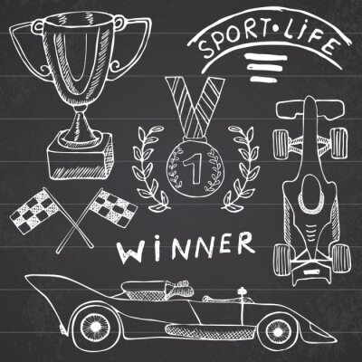 Canvas print Sport auto items doodles elements. Hand drawn set with Flag icon. Checkered or racing flags first place prize cup. medal and rasing car, race vector illustration. Drawing doodle collection isolated