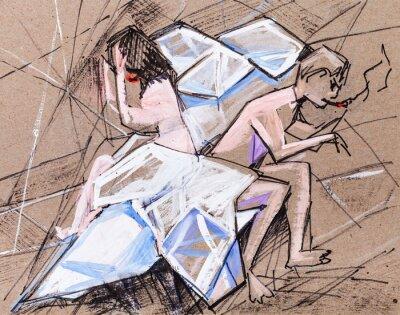 Canvas print Spouses in quarrel