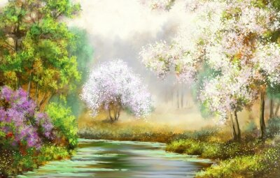 Canvas print Spring,tree,river, paintings landscape