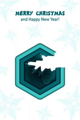 Spruce branch with cones under the snow. Paper cut. Christmas and New year greeting card. Vector