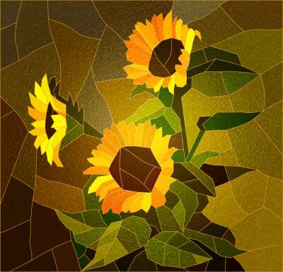 Canvas print Stained glass window with sunflowers