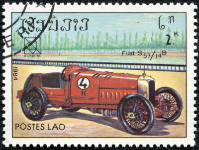 Canvas print stamp printed in Laos featuring a vintage Fiat S57 sports car