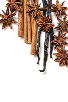 Canvas print Star anise, cinnamon and vanilla pods