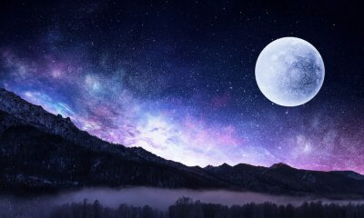 Canvas print Starry sky and moon. Mixed media