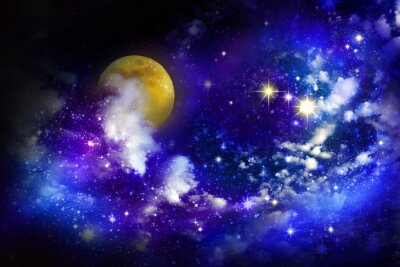Canvas print Stars and full moon  in the night sky.