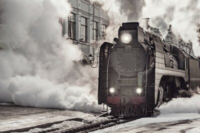 Canvas print Steam train departs from Riga railway station. Moscow.